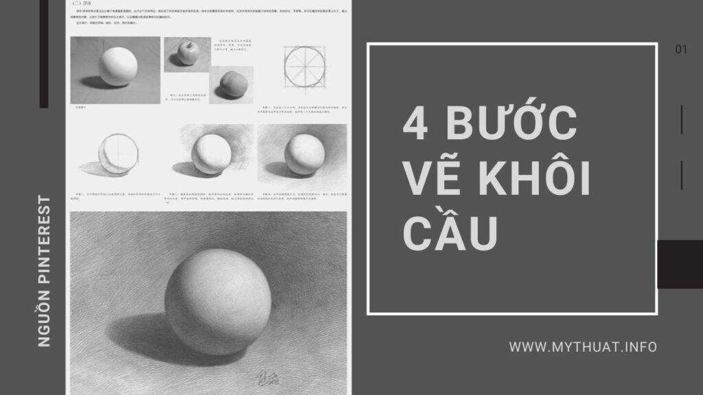 4 bước vẽ khối cầu cực dễ