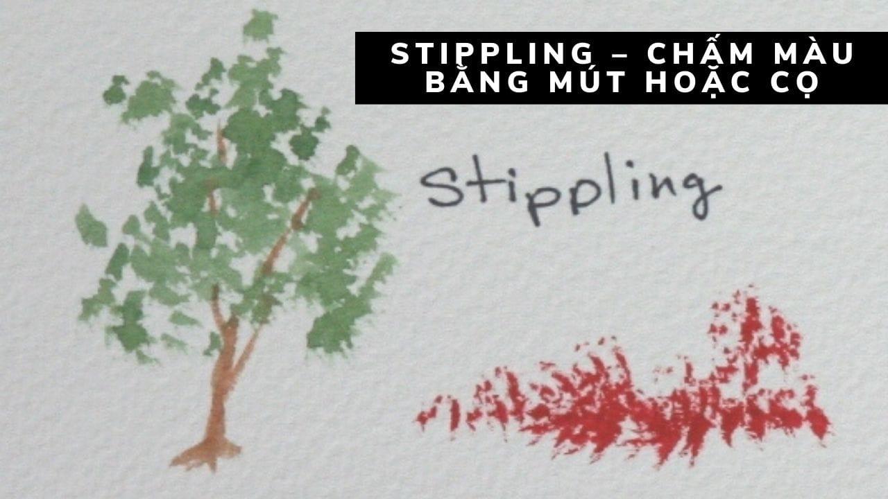 Stippling – chấm màu bằng mút hoặc cọ