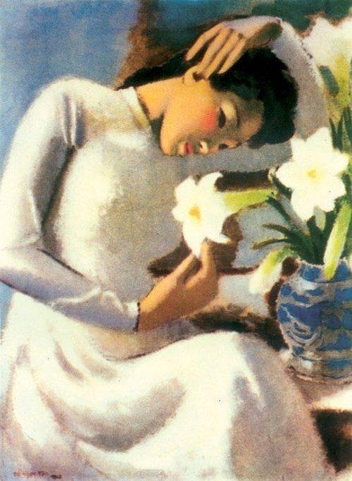 Thiếu nữ bên hoa huệ Tô Ngọc Vân  NGÀNH HỘI HỌA VÀ NHỮNG ĐIỀU CẦN BIẾT Thi   u n    b  n hoa hu    T   Ng   c V  n