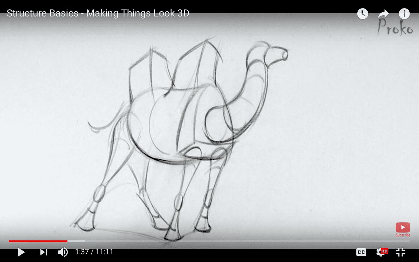 Hình 6: con lạc đà từ khối cơ bản (Nguồn: Proko)