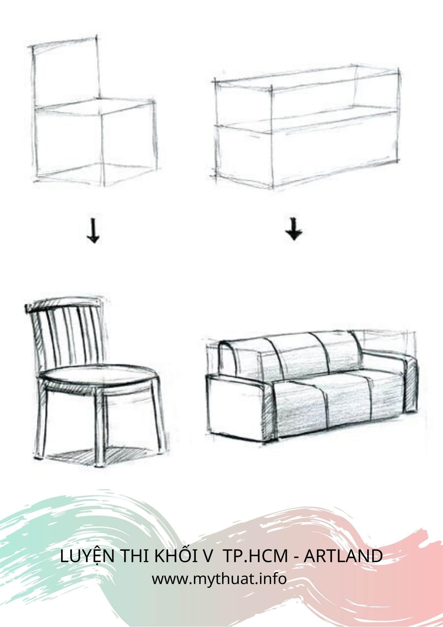 Hình 5: Vẽ mẫu vật từ khối vuông (Nguồn: Printerest)