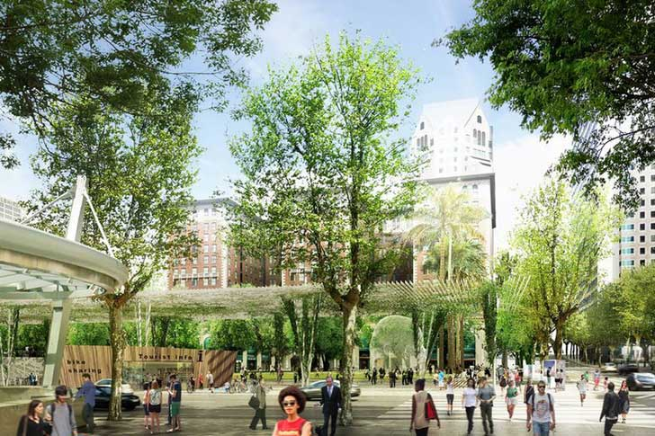 A-rendering-of-the-new-Pershing-Square-Park,-as-envisioned-by-landscape-architects-at-Agence-Ter-Agence-Ter  CÓ NÊN HỌC KIẾN TRÚC CẢNH QUAN A rendering of the new Pershing Square Park as envisioned by landscape architects at Agence Ter Agence Ter