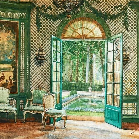 Interior of Elsie De Wolfe's music pavilion looking out on to the pool, The Villa Trianon