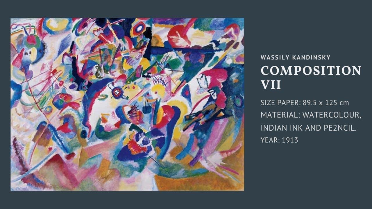 """Tranh của họa sĩ Wassily Kandinsky bức """" composition VII """" (bức thứ 2)"""