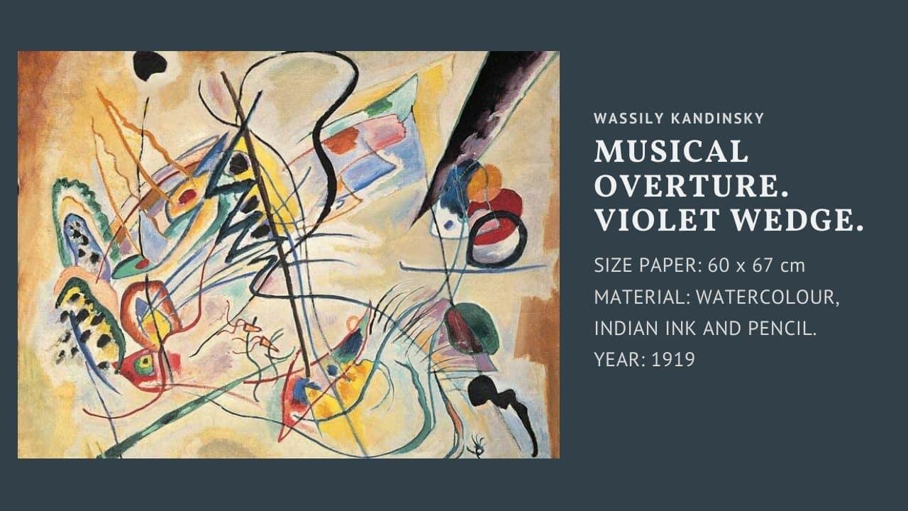 "Tranh của họa sĩ Wassily Kandinsky bức "" Musical overture. Violet wedge """