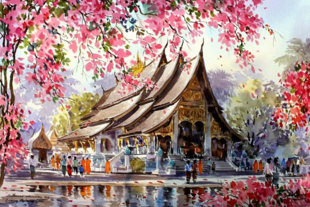 ký họa phong cảnh màu nước  Hướng dẫn một số kỹ thuật ký họa phong cảnh màu nước 4 5