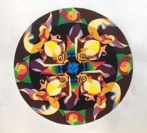 Bài-thực-hành-lên-màu-trang-trí-hình-tròn  ĐỀ THI TRANG TRÍ MÀU KHỐI H B  i th   c h  nh l  n m  u trang tr   h  nh tr  n 300x272