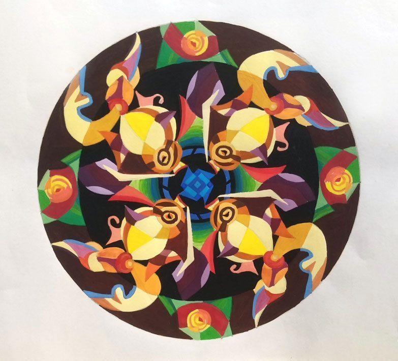 Bài-thực-hành-lên-màu-trang-trí-hình-tròn  HƯỚNG DẪN VẼ TRANG TRÍ HÌNH TRÒN BỐ CỤC ĐĂNG ĐỐI B  i th   c h  nh l  n m  u trang tr   h  nh tr  n