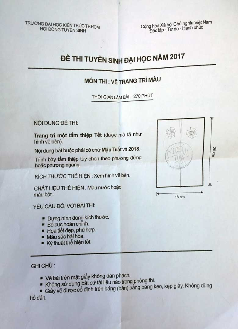 De thi trang tri DH Kien Truc 2017  ĐỀ THI TRANG TRÍ MÀU KHỐI H De thi trang tri DH Kien Truc 2017