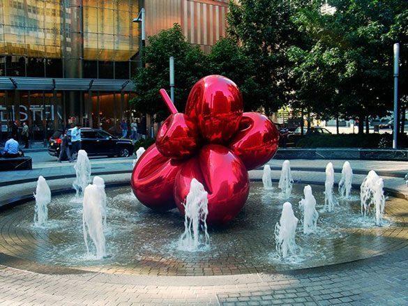 Jeff-Koons,-Balloon-Flower-(Red)--(2006)  SỨC MẠNH CỦA CÁC TÁC PHẨM ĐIÊU KHẮC CÔNG CỘNG Jeff Koons Balloon Flower Red 2006