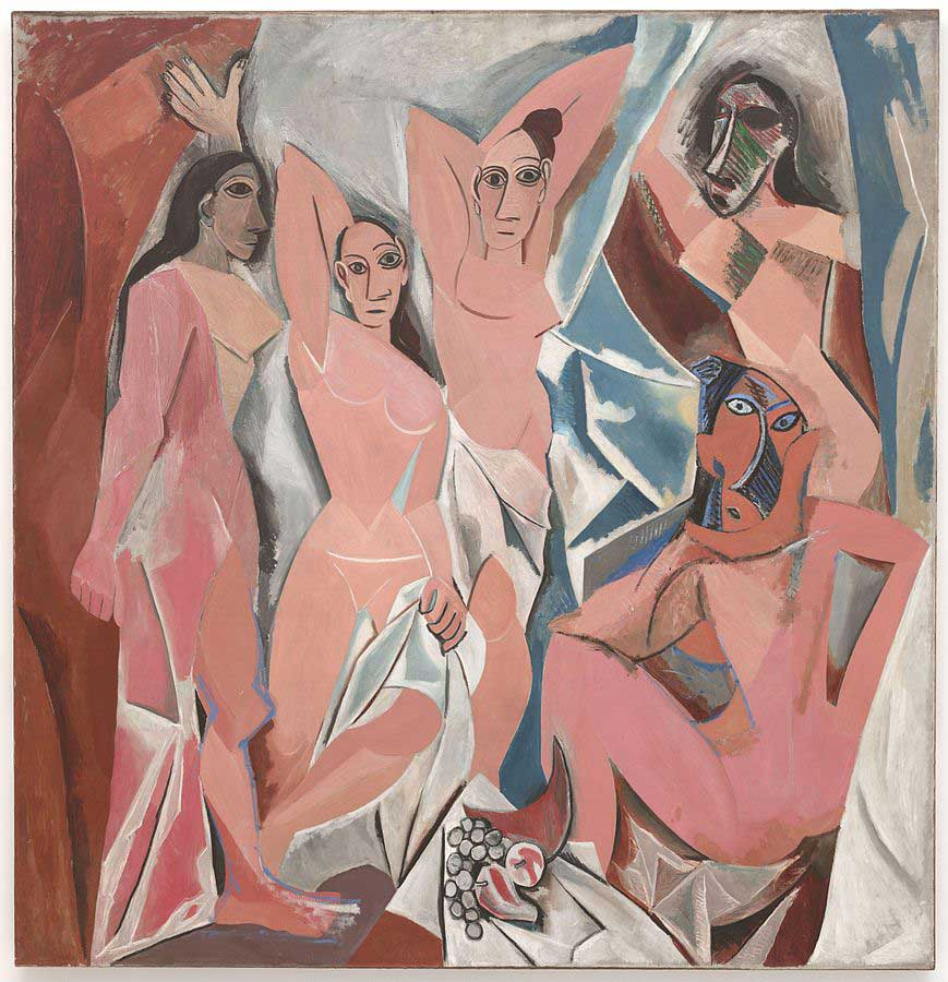 Les-Demoiselles-d'Avignon-(1907)  DANH HỌA PABLO PICASSO VÀ CÁC TÁC PHẨM TIÊU BIỂU Les Demoiselles dAvignon 1907