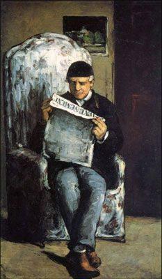 """Louis-Auguste Cézanne, the Artist's father, Reading """"L'Evenement"""" (1866)  DANH HỌA PAUL CÉZANNE VÀ HẬU ẤN TƯỢNG Louis Auguste C  zanne the Artists father Reading    LEvenement    1866"""