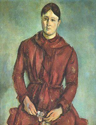 Madame Cézanne in a Red Dress (1888-1890)  DANH HỌA PAUL CÉZANNE VÀ HẬU ẤN TƯỢNG Madame C  zanne in a Red Dress 1888 1890