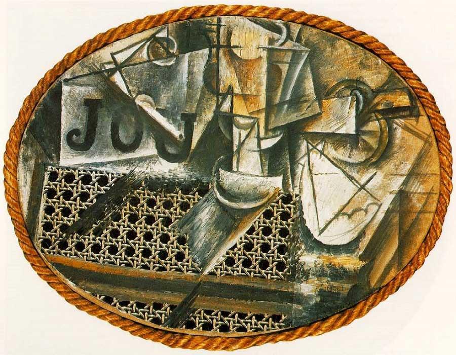 Still-Life-with-Chair-Caning-(1912)  DANH HỌA PABLO PICASSO VÀ CÁC TÁC PHẨM TIÊU BIỂU Still Life with Chair Caning 1912