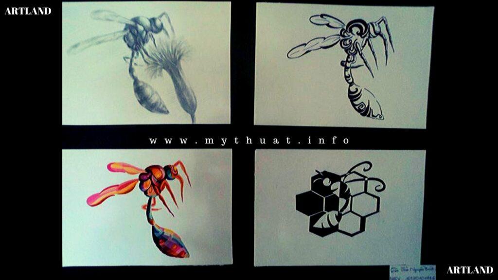 Mẫu cách điệu họa tiết con ong