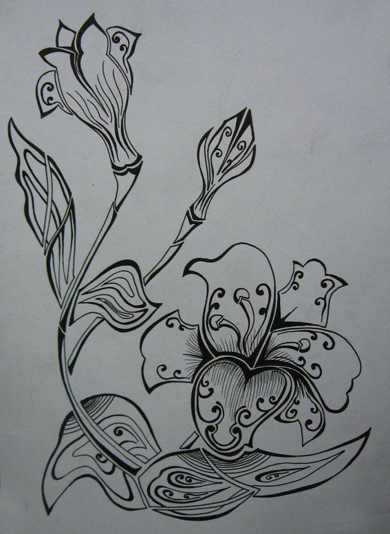 Vẽ cách điệu hoa Ly  CÁCH ĐIỆU HOA LÁ (phần 2) ve cach dieu hoa lily 2