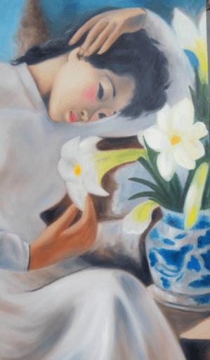 tranh thiếu nữ bên hoa huệ