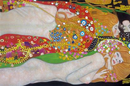 Gustav Klimt Wasserschlangen II, 1907  10 BỨC HỌA ĐẮT NHẤT THẾ GIỚI Gustav Klimt Wasserschlangen II 1907
