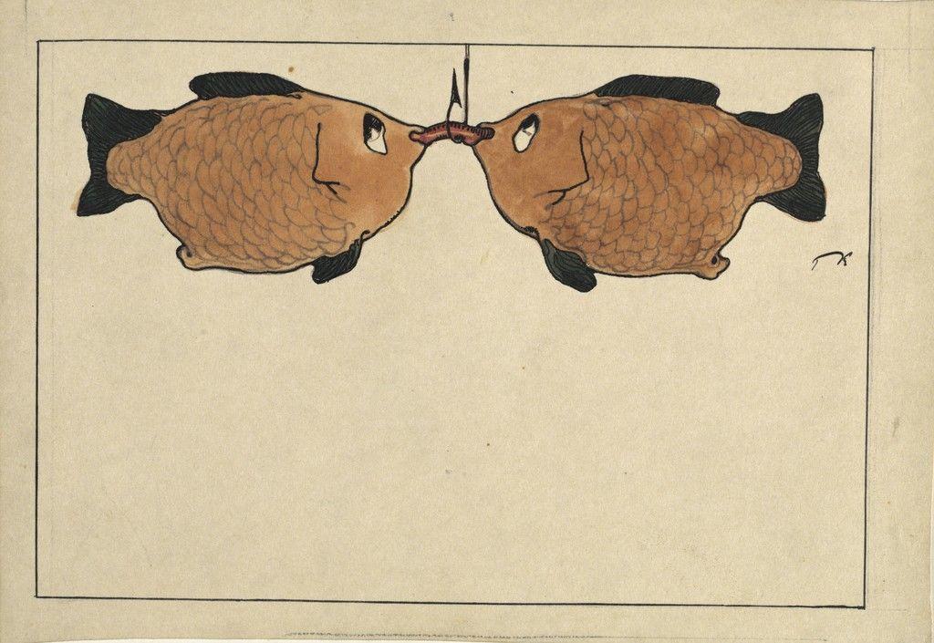 Sans Titre (Deux poissons, un hameçon, un ver), 1901 Paul Klee- L'ironie à l'oeuvre at Centre Pompidou, Paris LÀM SAO ĐỂ TRỞ THÀNH HỌA SĨ, THEO PHƯƠNG PHÁP PAUL KLEE Sans Titre Deux poissons un hame on un ver 1901 22Paul Klee Lironie loeuvre22 at Centre Pompidou Paris