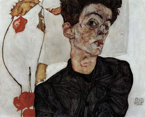 Self-Portrait with Chinese Lantern Plant (1912)