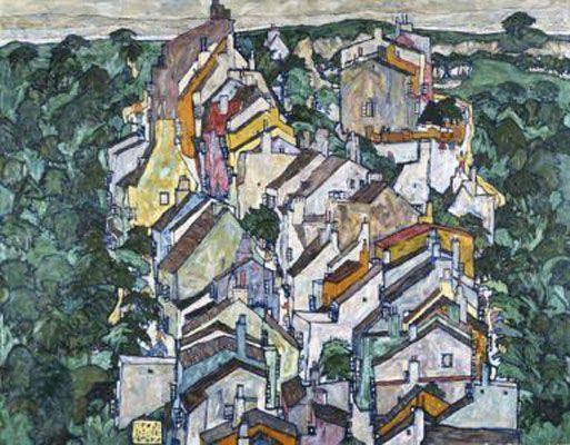 Town among Greenery (The Old City III) (1917)  HỌA SĨ EGON SCHIELE VÀ SỰ SÁNG TẠO TÁO BẠO Town among Greenery The Old City III 1917