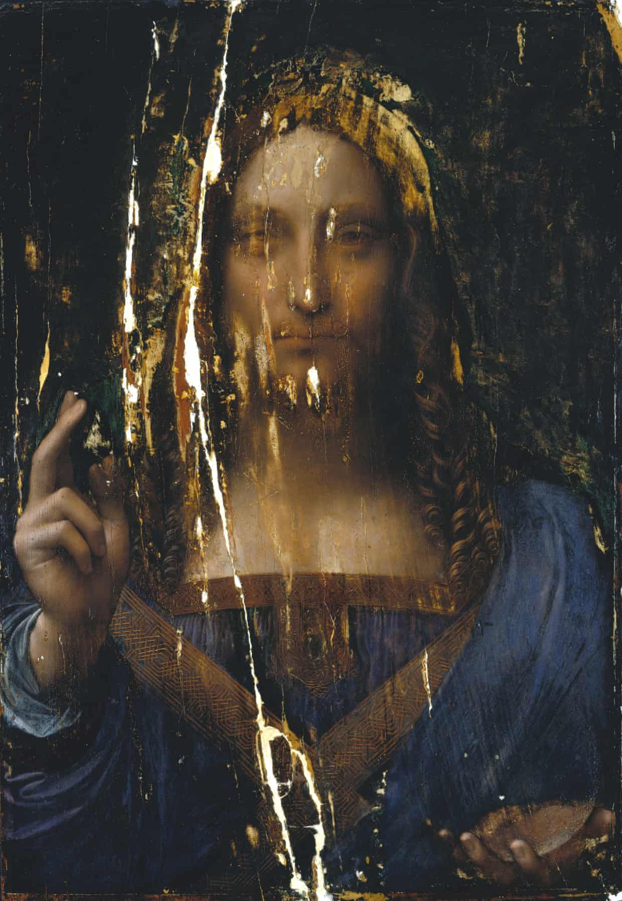full view of the cleaned-up painting. Photograph- Courtesy Dianne Modestini : © 2011 Salvator Mundi LLC