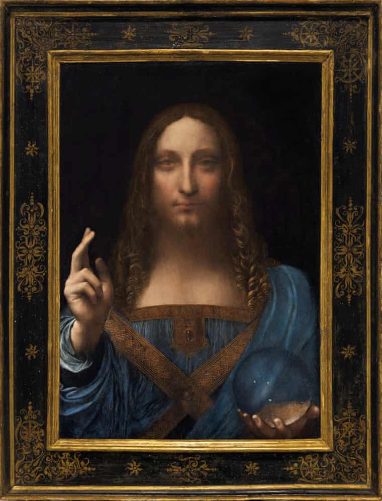 how the work looked at auction, when it became the world's most expensive painting. Photograph- Reuters  BÍ ẨN CỦA DA VINCI: BỨC TRANH ĐẮT NHẤT THẾ GIỚI SALVATOR MUNDI how the work looked at auction when it became the world   s most expensive painting