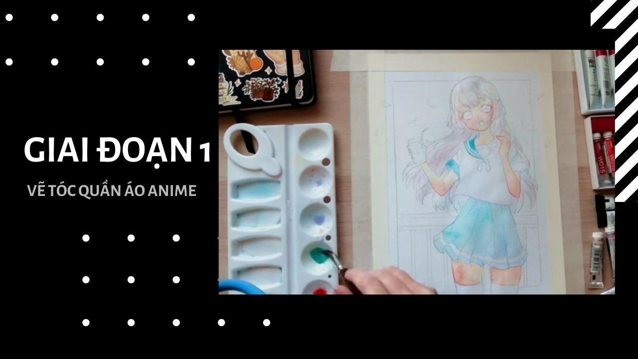 Vẽ tóc và quần áo anime