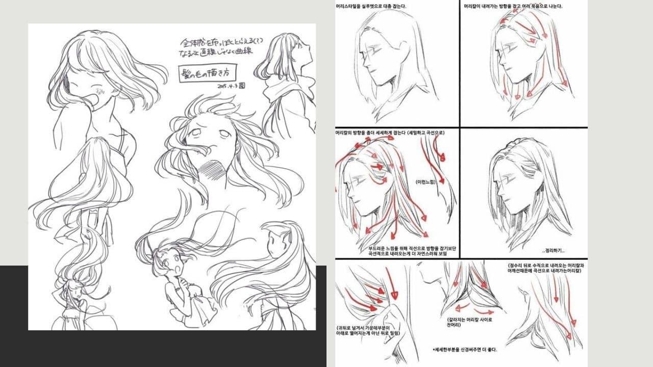 Vẽ tóc anime nữ