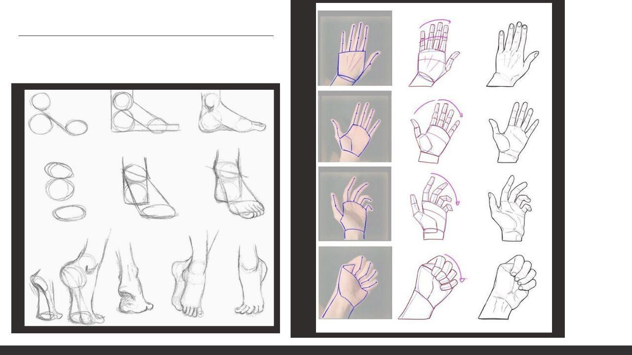 Cách vẽ bàn chân và bàn tay