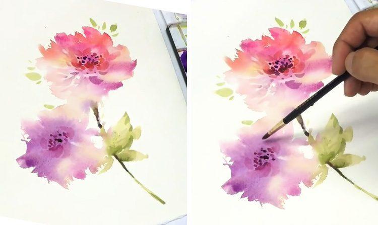 Cách vẽ màu nước loang